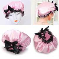 Ribbon Waterproof Elastic Band Lace Bow Shower Hat
