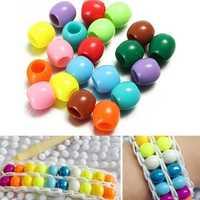 20pcs Acrylic Pony Beads DIY Colorful Rubber Bands Loom Bracelet
