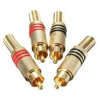 4Pcs Gold Plated RCA/Phono Male Plug Connectors Cable Protector