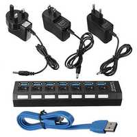 7 Port USB 3.0 Hub On/Off Switch+EU/US/UK AC Power Adapter
