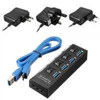 4 Ports USB 3.0 HUB On/Off Switch AC Adapter