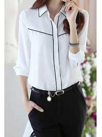 Women Elegant White OL Chiffon Long Sleeve Shirt Blouse