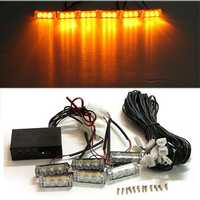 Car 12V 6 Amber LED Flashing Grill Lights Bar Strobes Warning Recovery Breakdown