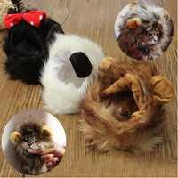 Pet Cat Lion Mane Wig Stuffed Hat with Ears