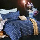 Meilleurs prix 3 Or 4pcs Dark Blue Pure Cotton Taffeta Stripe Printed Bedding Sets
