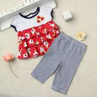2PCS Baby Kids Girls Summer Drape Cropped Trousers Outfits Sets
