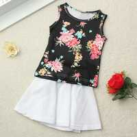 2015 Infant Baby Girls 2Pcs Flower Top+Solid Skirt Dress Outfits Set 6M-3Y