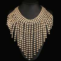 Alloy Chains Tassel Bubble Statement Chunky Necklace Gold Plated