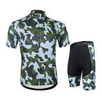 ARSUXEO Mens Cycling Jersey Mountain Bike Bicycle Short Sleeves Sets Shirts With 3D Padded