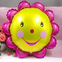 23 Inch Aluminum Foil Sunflower Balloon Smiling Face Balloons Birthday Party Decoration