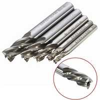 Drillpro DB-M2 5pcs 4/6/8/10/12mm 4 Flute End Mill Cutter HSS Straight Shank Drill Bits