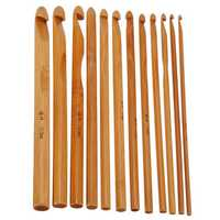 12 Bamboo Handle Crochet Hooks Needle Set