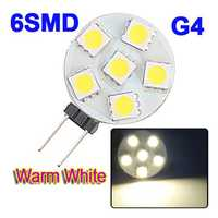 G4 6-5050 SMD LED Warm White Light Bulb Lamp Car Marine