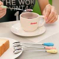 Ceramic Handle Floral Coffee Spoon Stainless Steel Small Milk Spoon Tableware