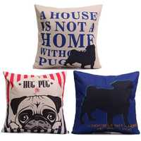 Cute Hug Pug Dog Throw Pillow Case Sofa Car Office Linen Cotton Cushion Cover