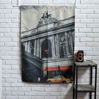 85X120cm Black White Taxi Cotton Linen Window Door Curtain Kitchen Bedroom Bar Screen