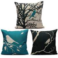 45X45CM Bird Vintage Linen Cotton Cushion Cover Decor Pillowcase