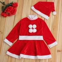 Children Christmas Girl Dress Boy Top+Pant+Hat Cap Party Clothes Sets