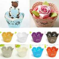 12PCS Roses Pearl Paper Cake Surrounding Edge Baking Cups