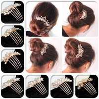 Flower Crystal Rhinestone Pearl Hair Clip Comb Pin Hairpin