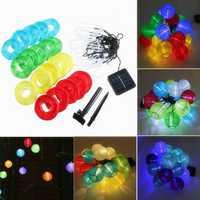 20 LED Solar Power Colorful Lantern String Fairy Light Outdoor Festival Garden Xmas Decor