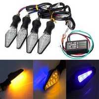 4pcs Motorcycle Amber&Blue 12LEDs Turn Signal Indicator Lamp Light With Flasher Relay