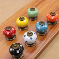 Vintage Dot Round Ceramics Drawer Knob Cabinet Pull Handle Cupboard Door Handle