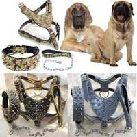 Unisex New Spiked Studded Leather Dog Harness Tactical Collar Leash Set Pitbull Mastiff Training Fraim