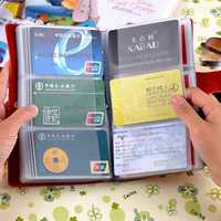 Genuine Leather Unisex Universal Multi Slot Card Bag Capacity 90 Card Slots Wallet