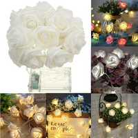 Battery Powered 1M 9LEDs Warm White Indoor Bedroom Decor Wedding Rose Flower Fairy String Light
