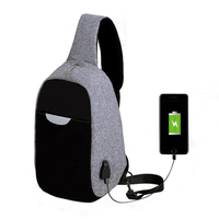Men External USB Charging Multi-Function Sling Bag Water Repellent Anti Theft Bag for Ipad