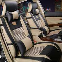 10pcs Car PU Leather Front Rear Car Seat Cushion Covers Universal for 5 Seat Car