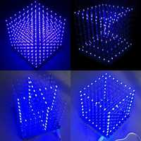Geekcreit® 8x8x8 LED Cube 3D Light Square Blue LED Flash Electronic DIY Kit