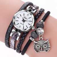 DUOYA Cute Style Owl Pendant Ladies Bracelet Watch Fashion Women Wrist Watch