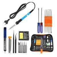 EU Plug 220V 60W Adjustable Temperature Electric Soldering Iron Kit+5pcs Tips Portable Welding Repair Tool