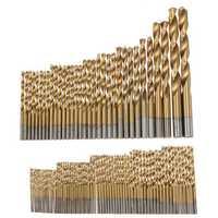 100pcs 1.5mm - 10mm Titanium Coated Drill Bit Set High Speed Steel Manual Twist Drill Bits