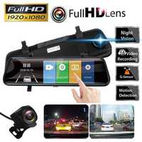 10 Inch 1080P Touch Screen Dual Lens Car Rearview Mirror DVR Safety Driving Camera