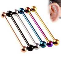 Unisex Multicolor Stainless Steel Ear Holes Barbell Ear Stud