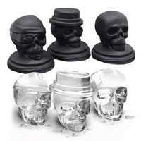 KCASA 3D Skull Ice Cube Tray Halloween Ice Mold Cocktiail Silicone Ice-cream Mold Maker Skull Shape Chocolate Mold Kitchen Tools Set Of 3
