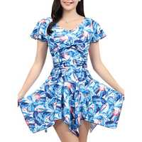 Plus Size Colorful Ruffle Floral Printing Wireless Swimdress Tankinis With Shorts