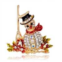 Christmas snowman Santa Claus Fashion Bridal Bouquet Flower Pattern Brooch Pin Rhinestone Inlaid Crystal Women Wedding Brooche