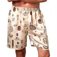 INCERUN Mens Sleepwear Satin Faux Silk Boxers Pajamas Shorts