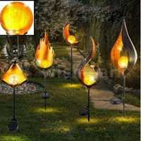 Solar Power LED Landscape Light Path Torch Flame Lighting Garden Yard Pool Path Lamp