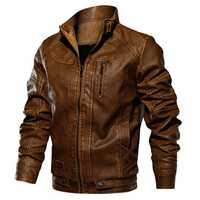 Mens Winter Thick PU Cool Motorcycle Faux Leather Jacket