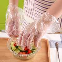 Food Grade Disposable Gloves Film Home Kitchen Dining Thickened Transparent PE Plastic Gloves 100/200pcs / Pack BBQ Film Replaceble Gloves Cooking Kitchen Tools