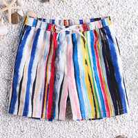 Men Colorful Stripe Quick Drying Beach Hawaiian Board Shorts