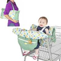 Fodable Baby Kids Shopping Cart Cushion Kids Trolley Pad Baby Shopping Push Cart Protection Cover Baby Chair Seat Mat with Safety Belt
