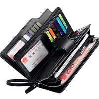 Men Leather Business Long Wallet Credit Card Organizer