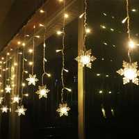 3.8M LED Curtain Snowflake String Lights LED Fairy Lights 8 Modes Christmas Lights Wedding Party Decoration 220-240V