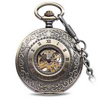 JIJIA JX009 Carved Flowe Hollow Mechanical Pocket Watch